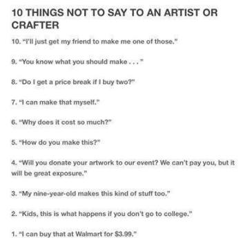 10 Things NOT To Say To A Crafter - FB
