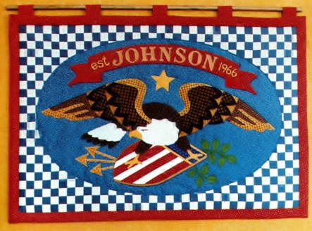 The Americana Eagle Oval Hoop or Banner Pattern Kit Front Close Up
