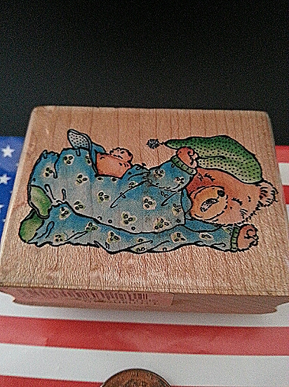 Stampede Bear Rubber Stamp Close-Up Front
