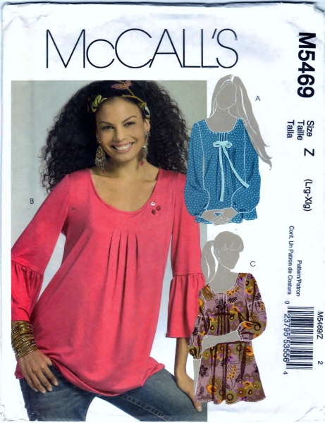 McCalls 5469 Misses Miss Petite Tunics Scanned Front 01-27-2015