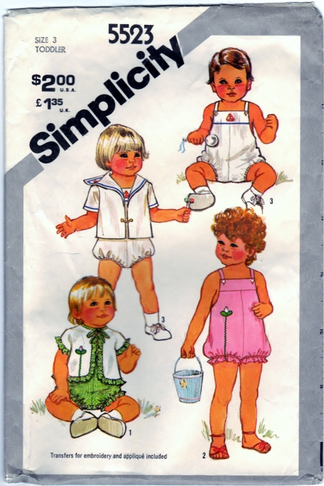 Simplicity 5523 Toddlers Sunsuit and Lined and Unlined Jackets Front Scanned 02-17-2015