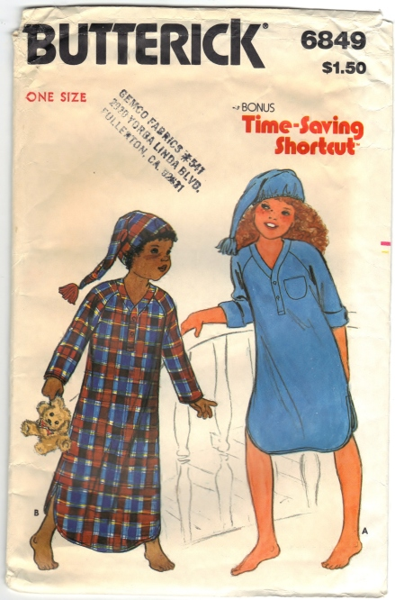 Butterick 6849 Children's Nightshirt And Cap Front Scanned 05-08-2015