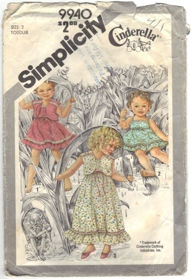 Simplicity 9940 Toddlers Sundress In Two Lengths And Self-Lined Jacket - Front - Scanned 06-24-2015