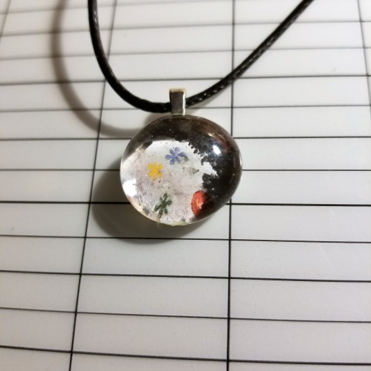 Flowery Glass Marble Necklace 342018 (8C)