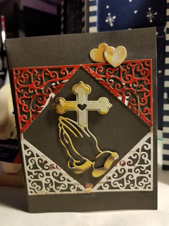 Folding Hands Cross Handmade Greeting Card 4292018 (2)