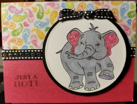Elephant Just A Note Handmade Greeting Card 5202018 (8Cropped2)