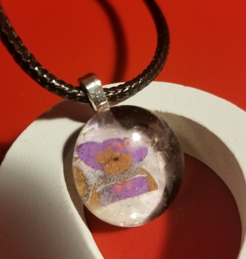 Purple Hat Bear Glass Marble Necklace 722018 (9)