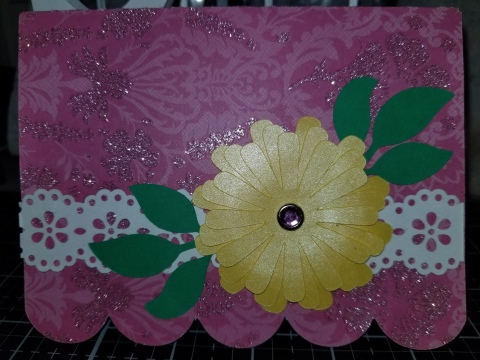 Daisy Background Scalloped Handmade Greeting Card 8272018 (2)