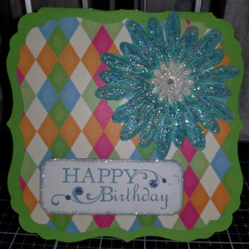 Happy Birthday Floral Diamond Handmade Greeting Card 8262018 (2)