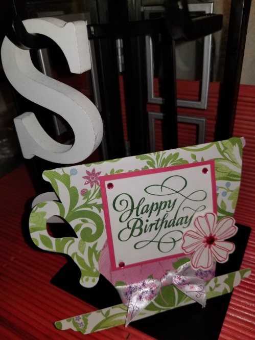 Pink Green Floral Handmade Greeting Card 882018 (1)