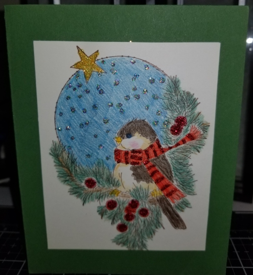 Hollydaze Birdie Handmade Greeting Card 9182018 (1)