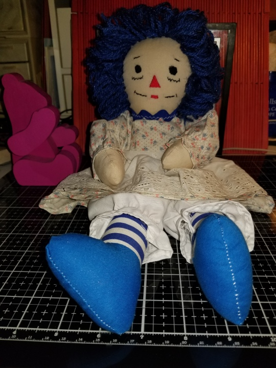 Raggedy Ann 15 Inch Doll with Blue Yarn Hair 9262018 (2)