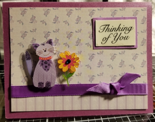 Thinking Of You Cat Bird Handmade Greeting Card 912018 (2)