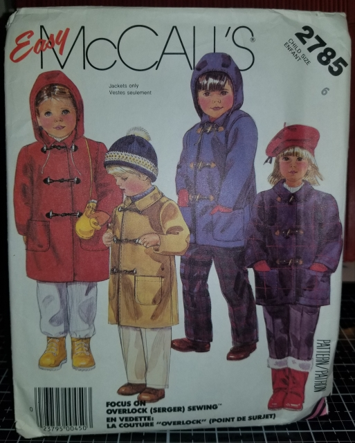 McCall's 2785 Pattern Children's Unlined Coat And Detachable Hood 1032018 (3)