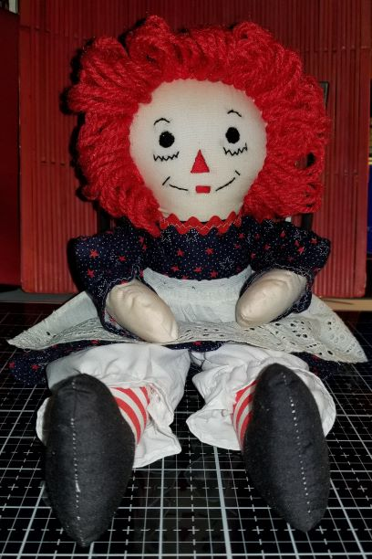 Raggedy Ann 15 Inch Handmade Doll Red Star and White Dots Calico 1112018 (1Thumbnail))